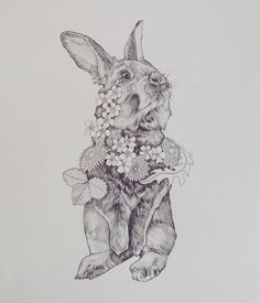 Vrolijk Pasen ! #easter #bunny #drawing #oldie #rabbit #daffodil #flower #floral #fur #illustration #pencil #animal #nature #pasen #paashaas #leafs