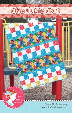 Check Me Out Quilt PatternIt's Sew Emma #ISE-125 - Quilt Patterns | Fat Quarter Shop. The long strips are a great spot for a large novelty print. In red/yellow/blue/white.