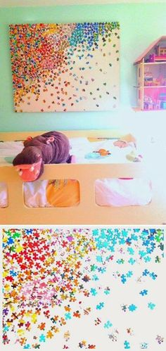 Fun craft (and adorable decor) you can do with the kids: puzzle piece art! Grab a bright & colorful puzzle with lots of pieces & let your little one help you paste them down on a canvas. Great for their bedroom or playroom!
