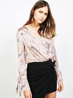 #AdoreWe #JustFashionNow Shirts & Blouses - Designer yinbo Apricot Elegant Floral-print V Neck Silky Blouse - AdoreWe.com