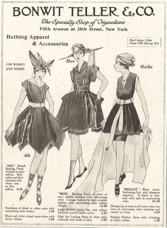"""Bonwit, Teller & Co. - Bathing Suit Styles Among women who preferred to swim (as opposed to simply """"bathe""""), the maillot was by far the most popular style, especially after the famous Australian swimmer Annette Kellerman was arrested for indecency,. Vintage Advertisements, Vintage Ads, Vintage Ephemera, Vintage Photos, Retro Ads, Vintage Bathing Suits, Vintage Swimsuits, Bathing Costumes, Moda Vintage"""
