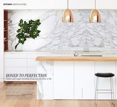 Arent + Pyke | kitchen + timber + marble + copper pendants   Belle April/May 2013