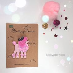 Pink French Poodle Glitter Hair Clip Puppy by LittleMagicPieces