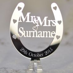 Little Shop of Wishes Personalised Free Standing Wedding Mr & Mrs Horseshoe - Top Table Decoration