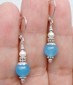 Natural 6Mm Pearl 10Mm Aquamarine Silver Leverback Earrings