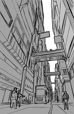Been trying to work on my linework. Pretty happy with this sketch. Perspective Drawing Lessons, Perspective Sketch, 1 Point Perspective, Background Drawing, City Background, Manga Drawing Tutorials, Art Tutorials, City Sketch, City Drawing