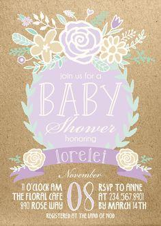 Lavender Mint Gold Boho Baby Shower by INVITEDbyAudriana on Etsy