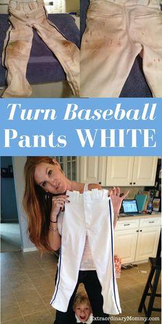 How to Clean Baseball Pants: Turn Baseball Pants White - simple solutions here - (Softball Pants too) ExtraordinaryMommy.com