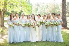 Blue and White Wedding Ideas - light-blue-bridesmaid-dresses