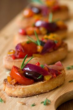 Warm Bruschetta Appetizers with Oven Roasted Vegetables