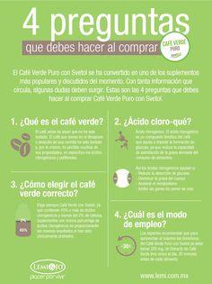 Infografía: 4 preguntas que debes hacer al comprar Café Verde Puro con #Svetol.  #salud y #ftiness