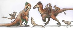 Deinonychus Family Art of Emily Willoughby