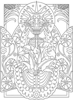 Day of the Dead Coloring Book 3 Welcome to Dover Publications Ausmalbilder Tag der Toten 3 Willkomme Skull Coloring Pages, Halloween Coloring Pages, Mandala Coloring, Coloring Book Pages, Coloring Sheets, Coloring Stuff, Fairy Coloring, Mandala Art, Creative Haven Coloring Books