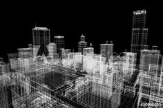 City buildings project, 3d wireframe print, urban plan. Architecture