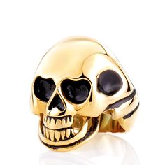 Men 316L Stanless Steel Fashion Jewelry Men's Punk Smooth Middle Knuckle Paver Black/Gold Skull Rings
