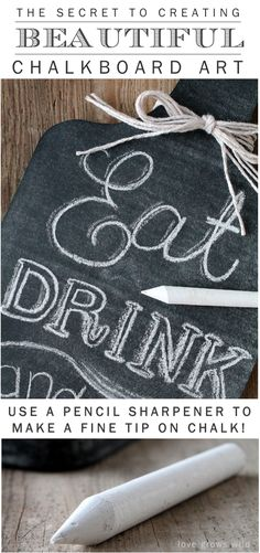 The secret to creating BEAUTIFUL Chalk Art! Come find out how to create an easy kitchen chalkboard plus a great chalk art tip! | LoveGrowsWild.com