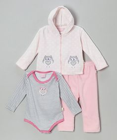 Take a look at this Duck Duck Goose Powder Pink Owl Three-Piece Bodysuit Set - Infant on zulily today!