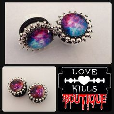 Pair of DOMED  Glitter Mermaid Dangle EAR Gauges TUNNELS EARLETS FREE SHIPPING