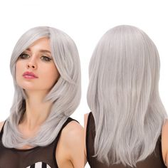 Medium Side Bang Silver Gray Layered Tail Adduction Endearing Women's Cosplay Lolita Synthetic Wig #>=#>=#>=#>=#> Click on the pin to check out discount price, color, size, shipping, etc. Save and like it!