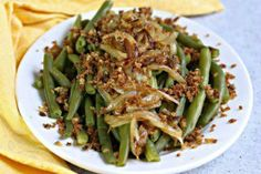 Green Beans with Sauteed Onions and Za'atar Crunch