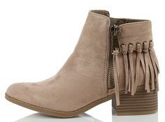 City Classified Women's Bean Faux Suede Fringe Stacked Heel Ankle Bootie, Cognac, 7 M US ** This is an Amazon Affiliate link. You can get more details by clicking on the image.
