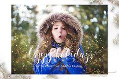 Christmas Card Template for Photographers, Photographer Christmas Template, Christmas Card Template, Glitter Overlay, 5x7
