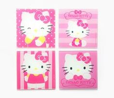 Hello Kitty Glass Coasters: Pink