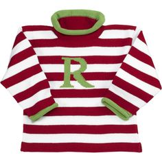 Our Rags Land Boys Red Stripe Roll Neck Letter Sweater! Shop NOW at www.ragsland.com