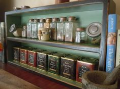 Large Free Standing Spice Rack in Coal and New Leaf Green by OldCountryGeneral  - I want this so badly for the kitchen I don't have!