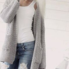 Grey cardigan, white top and jeans - simple and casual for staying at home