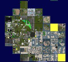 Das Second Life Apfelland in seiner Blütezeit, über 40 SIMs und mittendrin der von der Dresner Bank gesponsorte Apfelland Airport!