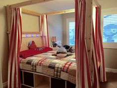 Full Size Farmhouse Canopy Bed With Storage | Do It Yourself Home Projects from Ana White