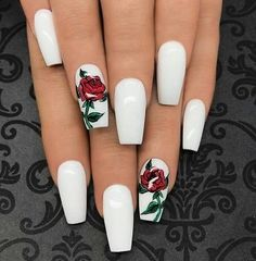Flowers do not always open, but the beautiful Floral nail art is available all year round. Choose your favorite Best Floral Nail art Designs 2018 here! We offer Best Floral Nail art Designs 2018 .If you're a Floral Nail art Design lover , join us now ! Best Acrylic Nails, Acrylic Nail Designs, Nail Art Designs, Nails Design, Rose Nail Design, Rose Nail Art, White Nails With Design, Red And White Nails, Shapes Of Acrylic Nails