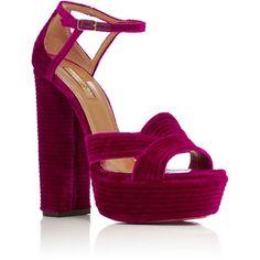 Aquazzura Ava Plateau Velvet Platform Sandals (12.839.245 IDR) ❤ liked on Polyvore featuring shoes, sandals, heels, pink, thick heel platform sandals, thick heel shoes, pink velvet shoes, velvet platform shoes and pink platform shoes