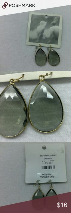 "Anthropologie Gray Tint Crystal Teardrop Earrings New Anthropologie earrings. Cray tinted teardrop shaped synthetic crystal with a gold bezel and hook. Earring length is 1.5""   psku 72 G Anthropologie Jewelry Earrings"
