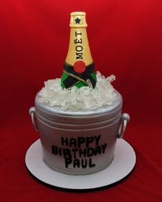 MOET ice bucket cake for Paul, Manager at LAVO NYC. Bottle is gumpaste and ice is made with isomalt and edible. 21st Bday Cake, Funny Birthday Cakes, 40th Cake, 40th Birthday, Wood Cake, Crazy Cakes, Sweet Cakes, Cute Cakes, Burger Cake