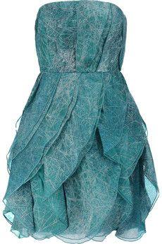 Halston Heritage Printed silk-organza mini dress   THE OUTNET