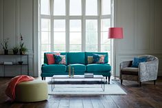 The Lounge Co. - Poppy 3 Seater Sofa in Velvet Touch - Dragon Eye #theloungeco  #chair #sofa #trend #turquoise #teal #velvet #statement #interiorinspiration #lounge #vintage #retro