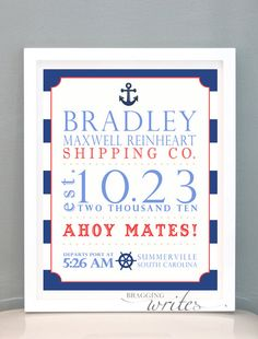 Nautical Nursery Birth Stat Print Personalized Nursery Wall Art or Birth Announcement - Printable (Sailor Theme). $15.00, via Etsy.