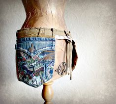 Women's Utility Belt Fanny Pack Rustic Hip Bag Cargo Pockets Bum Bag Change Purse Upcycled Clothing Eco Friendly Festival Clothes 'JASMINE'