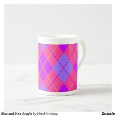 Blue and Pink Argyle Tea Cup