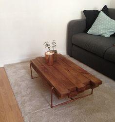 Table basse Bois foncé/Cuivre design