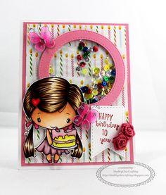 Birthday shaker card using The Greeting Farm's Birthday Anya (3) #shakercard #birthdaycard #birthday #thegreetingfarm #birthdayanya #copic #happybirthday