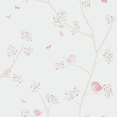 Pink bird wallpaper, non-woven beige little world - Casadeco Wallpaper, World Wallpaper, Nursery Wallpaper, Butterfly Wallpaper, Pink Bird, Decoupage Paper, Baby Decor, Poster Prints, Painting