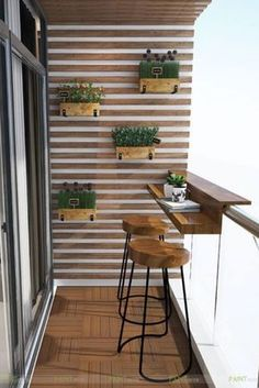 Balcony bar Balcon bar All our tips for creating a dining area on a small balcony. Small Balcony Design, Small Balcony Decor, Small Balcony Garden, Small Patio, Apartment Balcony Garden, Apartment Balcony Decorating, Design Apartment, Balcony Furniture, Bar Furniture