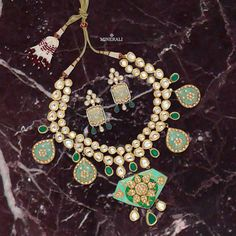 Adorn this outstanding handcrafted mint green neckpiece lined with kundans to add glamour to your ensemble. By TAD accessories, at Minerali. #minerali_store #tad #accessories #love #accessorize #designerjewellery #brilliant #weddingjewellery #jewellery #neckpiece #necklace #makeastatement #design #linkingroad #bandra #minerali