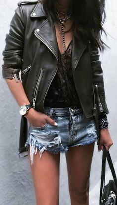 street style addiction biker jacket + shorts