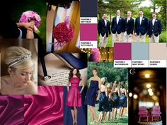 Navy Blue and Tuttie Frutti : PANTONE WEDDING Styleboard : The Dessy Group