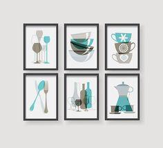 Best Brown Almond Blue Kitchen Decor Set Kitchen Wall Art 640 x 480