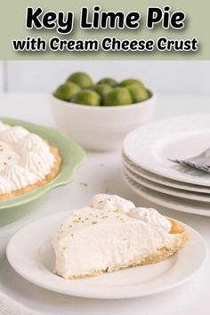 A creamy keto key lime pie with cream cheese and an almond flour pie crust. The airy low-carb filling is simple to prepare and no bake! Sugar Free Recipes, Keto Recipes, Cooking Recipes, Healthy Recipes, Low Carb Sweets, Low Carb Desserts, Almond Flour Pie Crust, Low Sodium Recipes, Key Lime Pie